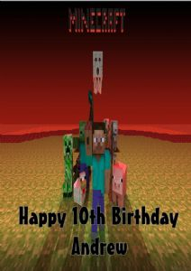 Personalised Minecraft Birthday Card